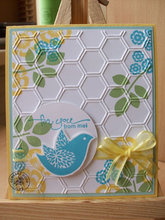 Stampin' Up honeycomb embossing folder. Like the stamping behind it.