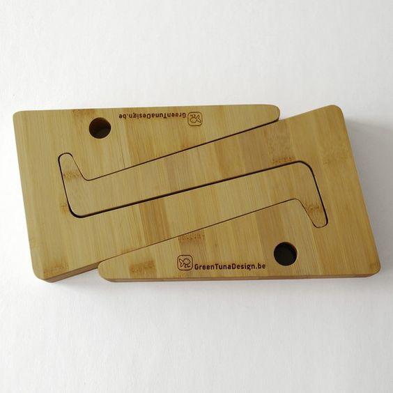 puzzle shaped laptopstand in sustainable bamboo wood