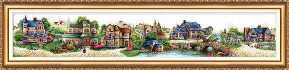 Cross stitch kit Fairy tale small town picture Free by AbrisA