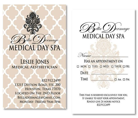 Medical Spa Business Cards Appointment Cards Customized Spa Business Cards Spa Business Medical Business Card
