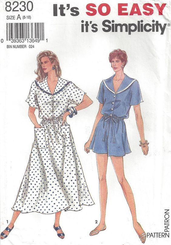 1990s Jumpsuit Shortall Romper Shirtwaist Dress Sailor Collar Elastic Waist Simplicity 8230 Size 8 10 12 14 16 18 Bust 31.5 32.5 24 26 38 40