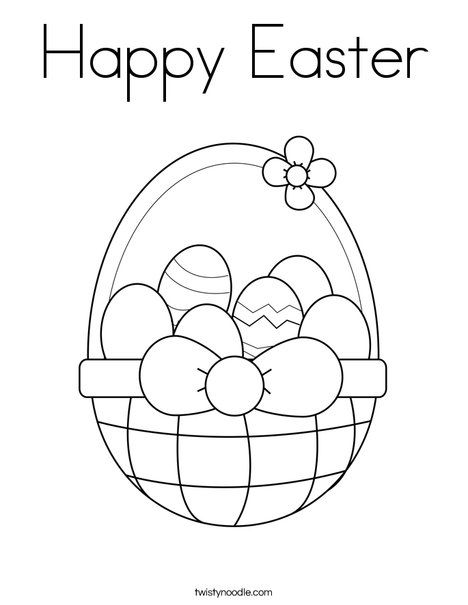 Happy Easter Coloring Page Twisty Noodle Coloring