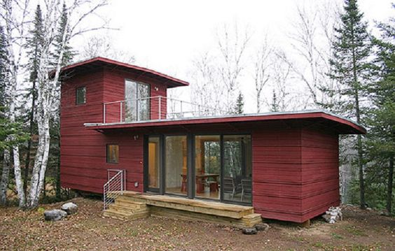 Modern Prefabricated Homes for the Risk Area of Disaster : Maple Red Outdoor Wall In Modern Prefabricated Homes Design Idea