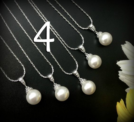 Set of 4 Bridesmaid Pearl Necklaces Swarovski by BeYourselfJewelry