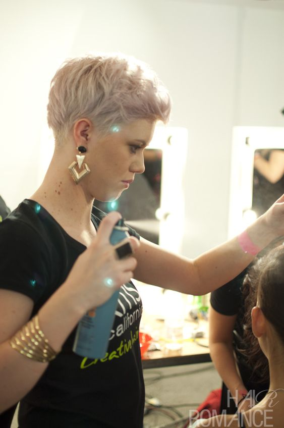 pastel pink short hair style spotted backstage at fashion week