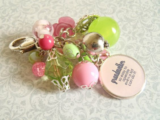 Grandmother's Light Pink and Bright Green Key Chain by AJewelryJar, $11.00