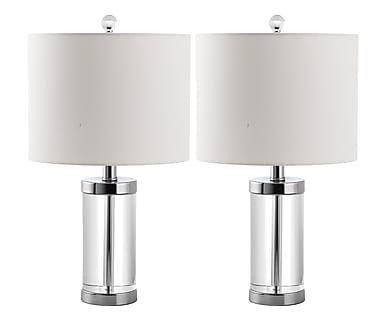 Set di 2 lampade da tavolo in cotone e cristallo Jesse trasparente, 27x53x27 cm