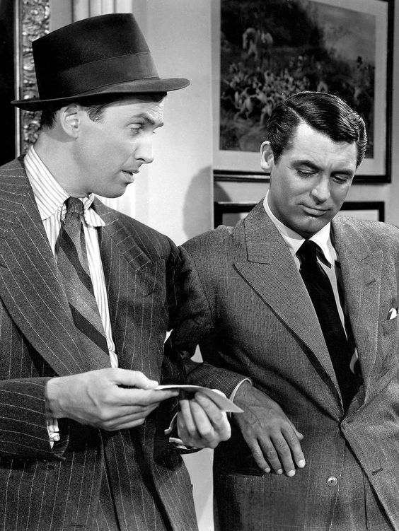 """James Stewart and Cary Grant in """"The Philadelphia Story"""" - 1940. One of my favorite films. A true classic."""