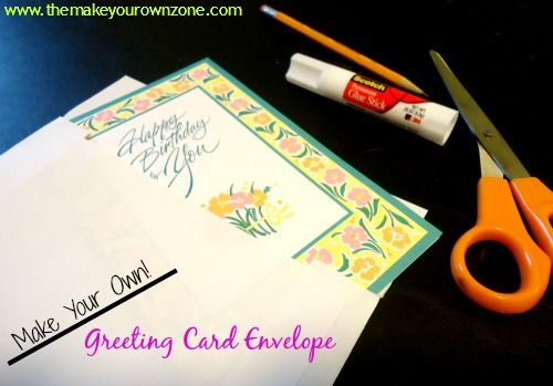 How to make your own greeting card envelope - easy to do with two pieces of paper (even plain paper from your computer printer will do the trick!)