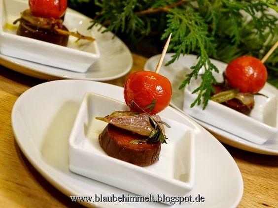Amuse Gueule; Wheaty-Gran Chorizo mit Kirschtomate; Teil des veganen Menüs 25.12.14