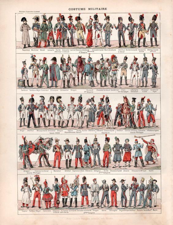 1897 militärische einheitliche antiken Print von Craftissimo