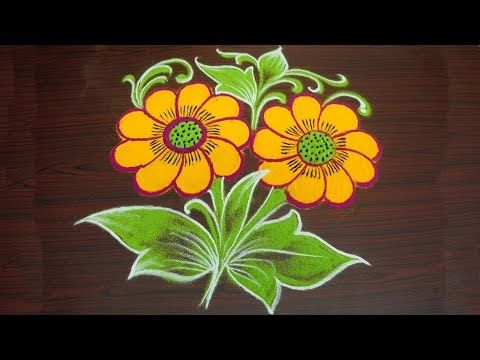Beautiful Flower Rangoli Design With Colours Simple Freehand Kolam Muggulu Without Dots Y Colorful Rangoli Designs Rangoli Designs Flower Rangoli Designs