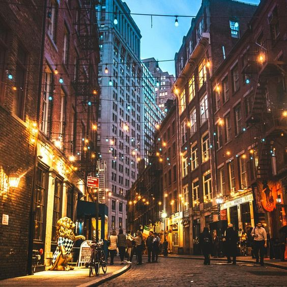 Stone Street in the Financial District, New York.