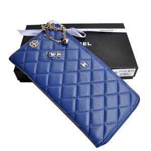 Faux peau de mouton Bleu Long portefeuilles Chanel Paris Pas Cher CCS207,sac chanel pas cher  €76.00