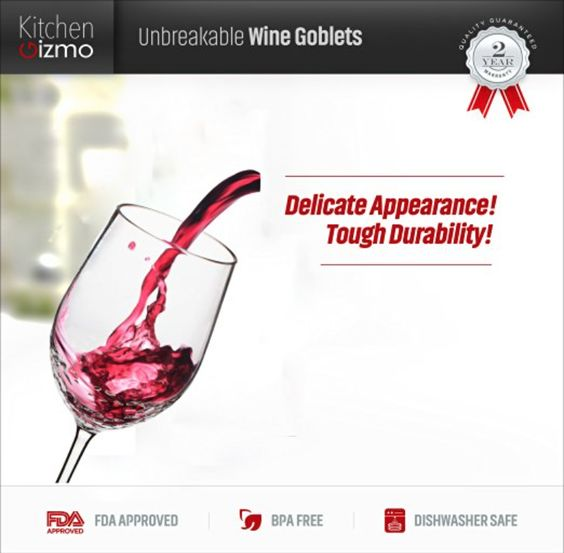 Kitchen Gizmo - Unbreakable Wine Glasses With Hammered Finish 100% Tritan - Set of 4