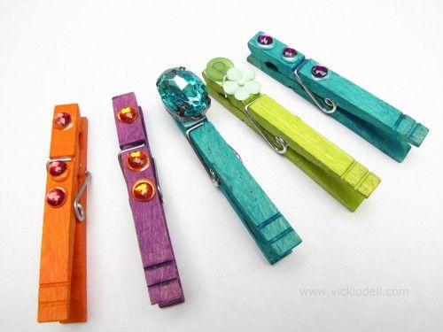 Clothespin Gift Bag Embellishments Featuring Jacquard's Dye-Na-Flow and Lumiere 3D Metallic Adhesive and Paint