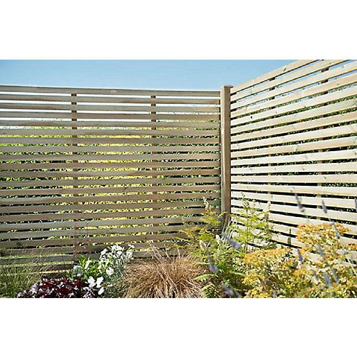 1 8m X 1 8m Pressure Treated Contemporary Slatted Fence Panel Pack Fence Panels Wooden Fence Panels Slatted Fence Panels