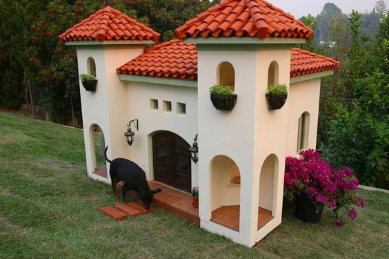 Tap for more amazing custom dog house ideas like this Mediterranean castle! #doghouse