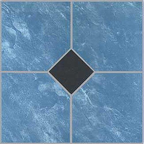 Blue Vinyl Floor Tile 40 Pcs Adhesive Bathroom Flooring Actual 12