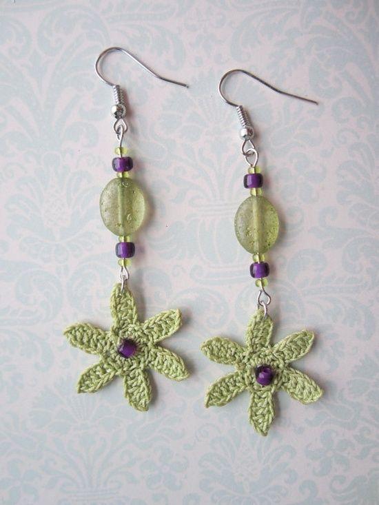 crochet earrings flower earrings dangle earrings crochet jewelry crochet flowers crocheted earrings jewelry mothers day gift bridal | http://coolearringscollections877.blogspot.com