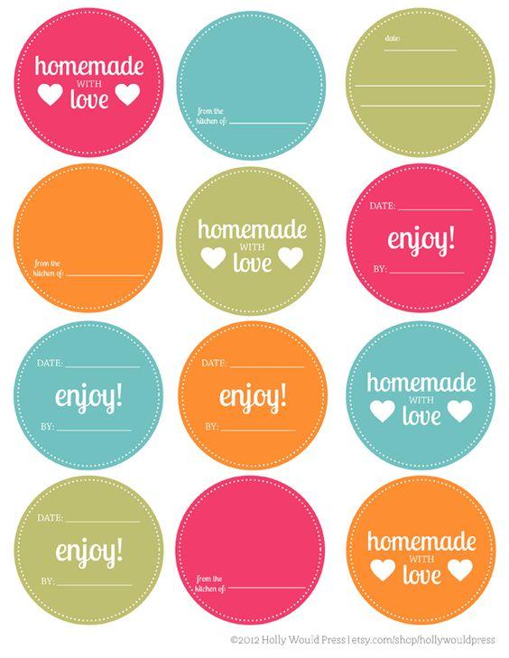 Free Mason Jar printable labels.