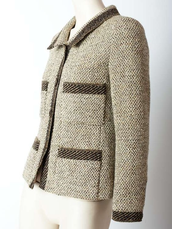 View this item and discover similar jackets for sale at 1stdibs - Chanel, slightly fitted tweed jacket with breast and hip pockets and collar. Tones of toast, taupe and ivory.