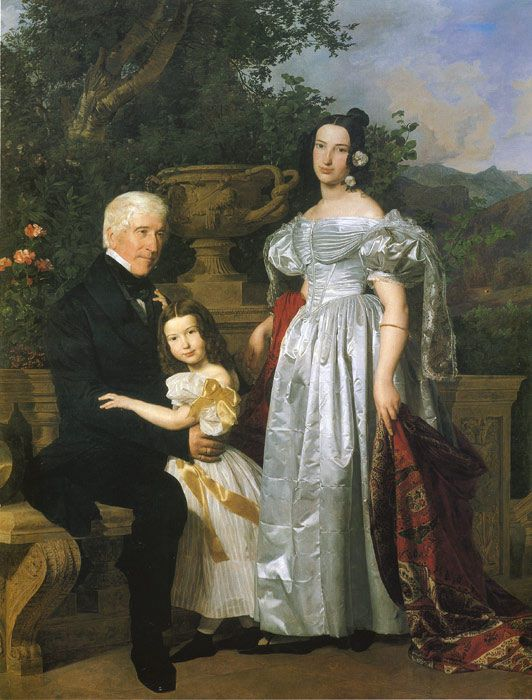 Ferdinand Georg Waldmüller, The Kerzmann Family, 1835. (you have to see the original painting as no photograph can ever capture the fine details of her dress, a masterpiece)
