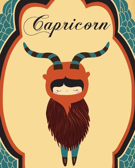 CAPRICORN Zodiac Digital Print Zodiac Sign, Astrological Sign Wall Decor, Capricorn Digital Illustration Birthday Gift, Astrology Wall Decor