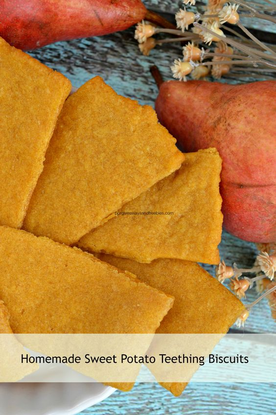 Homemade Sweet Potato Teething Biscuits 1 cup flour (you can use brown rice flour, wheat, or even all purpose) ½ cup pureed sweet potato 1 Tbsp. olive oil or coconut oil Water