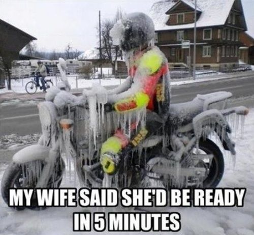 My wife said she'd be ready in 5 minutes.
