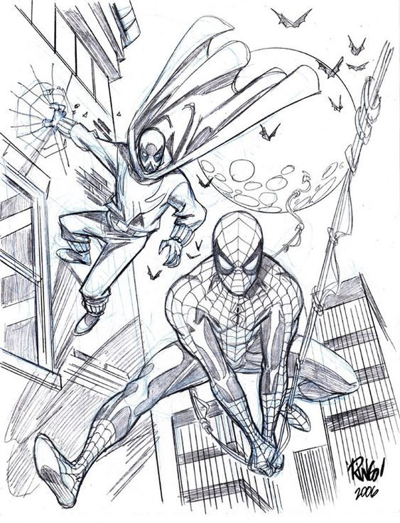 Spider Man And The Prowler By Wieringo On Deviantart Comic Book Art Style Spiderman Drawing Superhero Coloring Pages