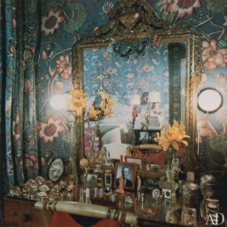 The elegant vanity area in her bedroom. We loved AD's flashback into Vreeland's 1970's apartment and can't wait to see the documentary!