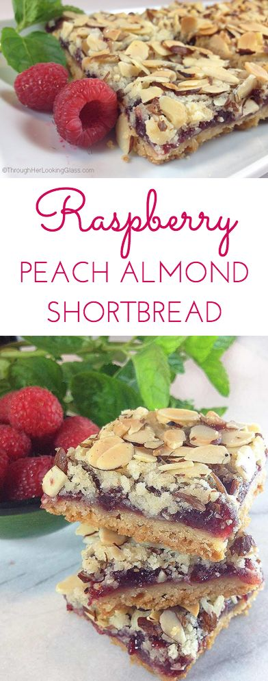 ... , almonds. You are gonna love these Raspberry Peach Shortbread bars