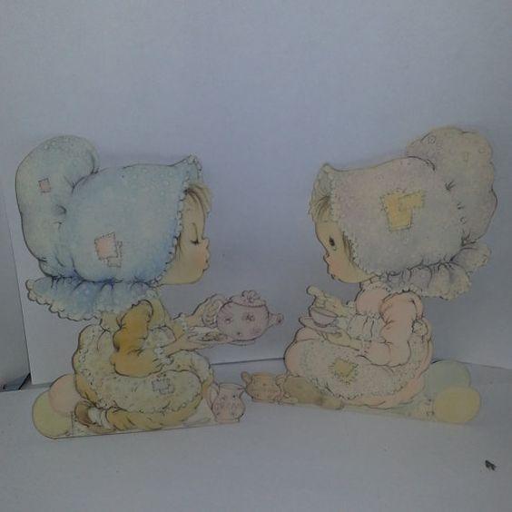 vintage Betsy Clark bonnet girl set 2 large cards pastel color illustrations images altered art scrap paper supplies