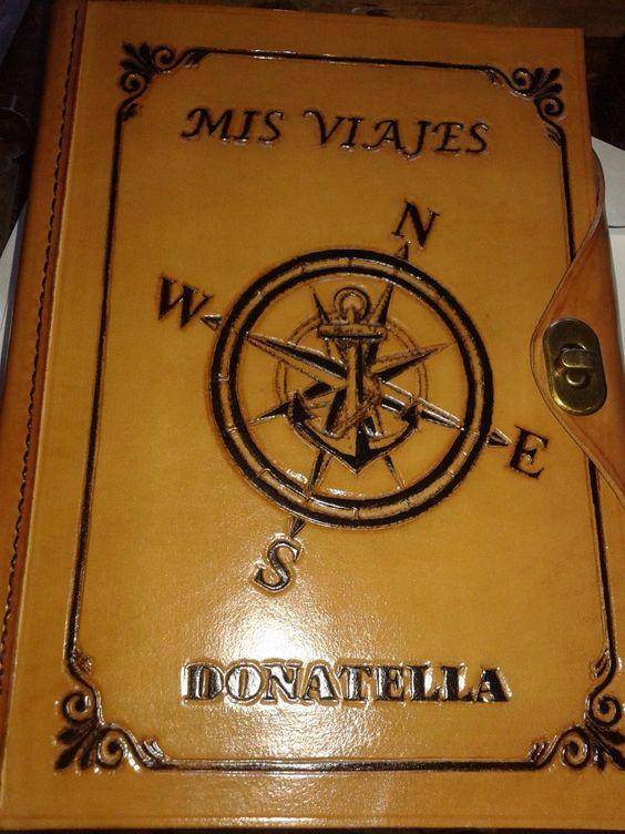 cuaderno de  dibujo bocetos cuero grabado personalizado