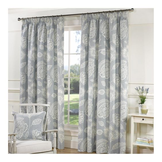 Buy Lizzy Duck Egg Line Tape Curtains - Matching Cushions ...