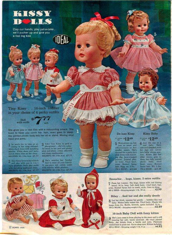 1964 Ad Toy Doll Walker Kissy Smoochie Bibsy Sister Schoolgirl Writing Ideal | eBay