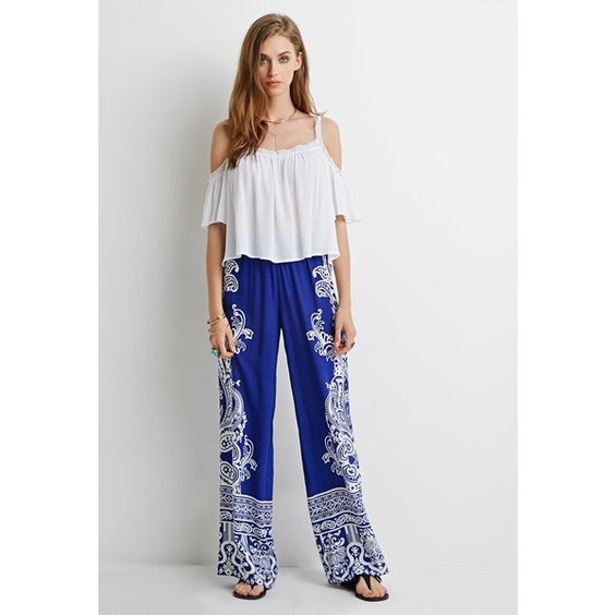 Forever 21 Women's  Ornate Paisley Palazzo Pants ($20) ❤ liked on Polyvore featuring pants, high waisted pants, wide leg trousers, elastic pants, high-waisted trousers and high-waisted wide leg pants