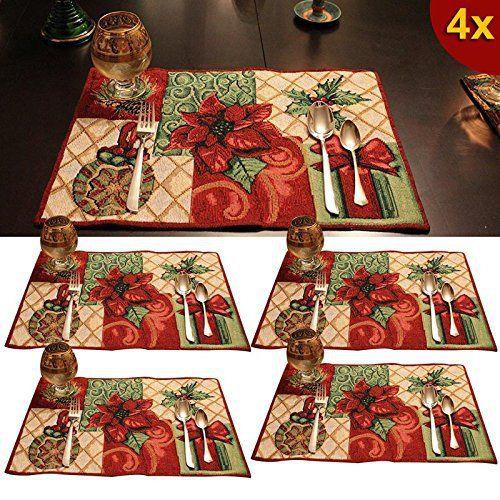 Hrph 4pcs Coton Set de Table Placemats Napperons Tissés Lavables