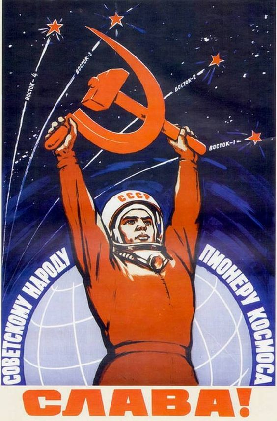 RussiaTrek's DeIntegro has assembled a marvelous gallery of mid-century Soviet space-program propaganda posters, showing brave and noble Russians ascending to the heavens on the back of sound socialist rockets.