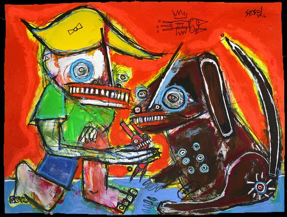 """New Friend"" by Matt Sesow available at new.sesow.com by Washington, DC artist Matt Sesow #mattsesow #sesow #dog #dogpainting #bunny #outsiderart #avam #madeindc #thedcarts #artbrut #brut #folkart"