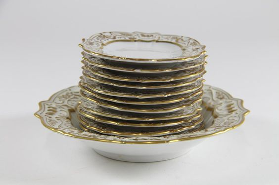 Dessert Bowl and Plates - Gold Border - rich decorated Germany 1930´s - 12x Knabberschälchen Schumann Elfenbein Porzellan Art Deco 30er Jahre