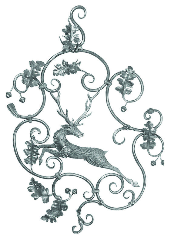 "BUY $200 GET 10% OFF DIY Wall Decor 29 Forged steel panel with leaves and beautiful deer center banded together by Parisian collars. H: 36-1/4""   W: 24-7/16""     Weight: 16 lbs."