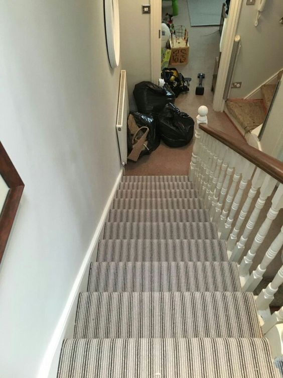 The New Striped Carpet In The Stairs Stairs Pinterest