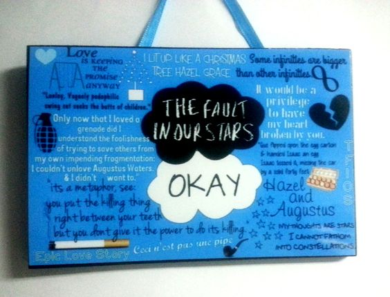 Inspired by the awesome book that is The Fault in Our Stars .. & Hazel & Agustus's love  lots of our favorite moments from the book. *custom graphic   *4x6 wooden plaque/sign