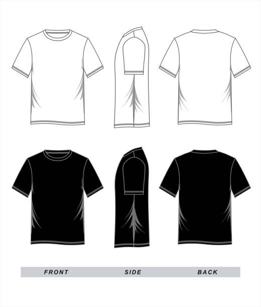 t shirt template blank black white, front, back side, vector