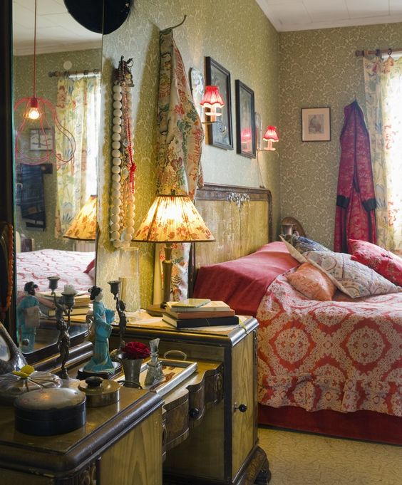 Boho bedroom bohemian vintage wallpaper Interior