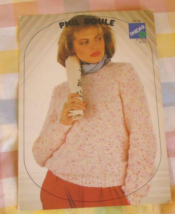 Knitting Patterns Phildar : Vintage Knitting Pattern Phildar 5178 Ladies Sweater 32 - 40