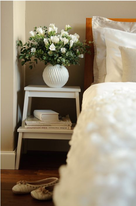 Step stool as simple nightstand