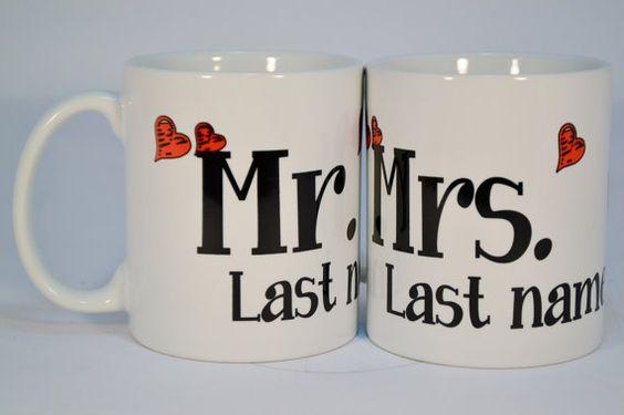 Wedding Gifts,Wedding Gift, Mr. & Mrs. Mugs,personalized wedding gift,Mr.and Mrs. mugs, personalized mugs,custom mugs,his and her,cute mugs